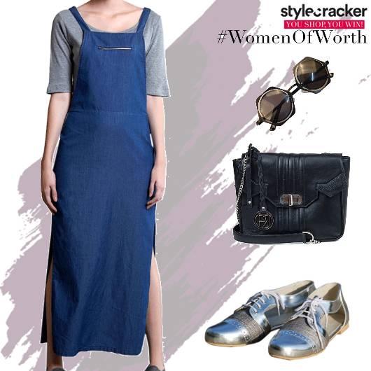 Casual Dungaree Dress Denim BasicTee - StyleCracker
