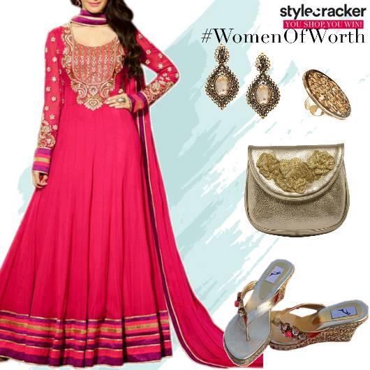 Festive Indian Anarkali Embellished WedgeHeels - StyleCracker