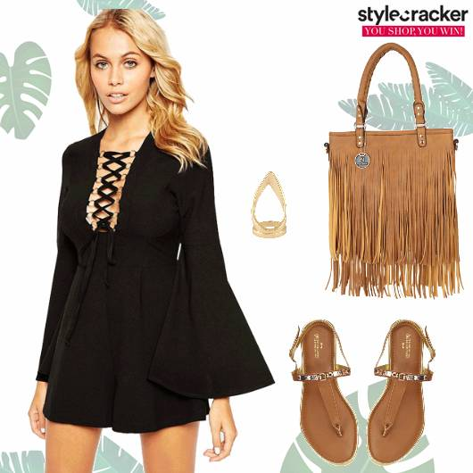 Summer Outings Laceup Flats Fringebag  - StyleCracker