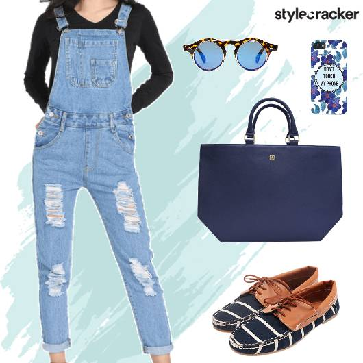 Casual Denim Dungarees Loafers Blue - StyleCracker