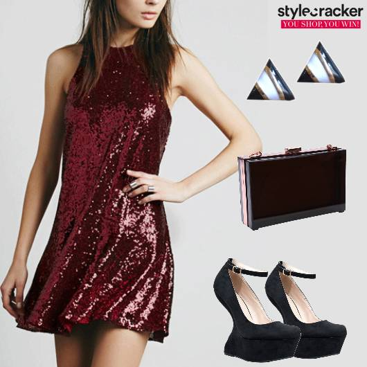 Party Glitterey Dress Pumps Box Clutch - StyleCracker