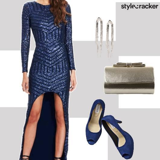 PartyWear Sequined Asymmetric Dress  Blue - StyleCracker