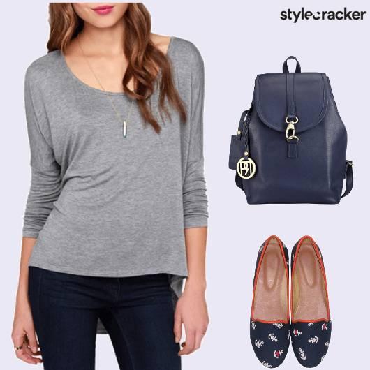 Casual Daywear College BasicTee Denims Blue - StyleCracker