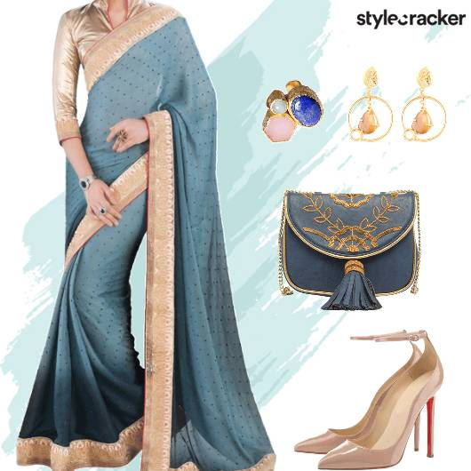 Festive Indian Saree Blue Embroidered SlingBag - StyleCracker