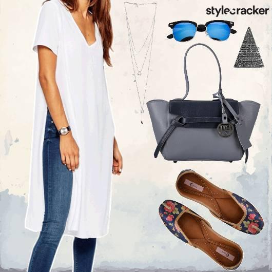Casual Daywear LongTop HighSlits Denims Blue - StyleCracker
