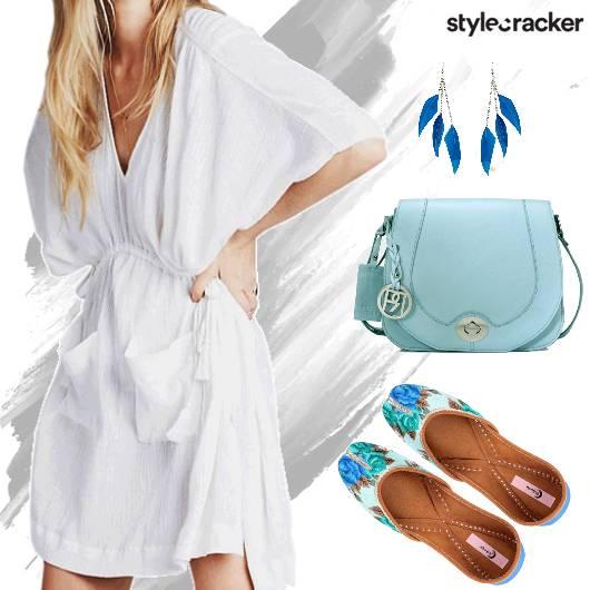 ShirtDress PrintedJuttis SlingBag Blue - StyleCracker