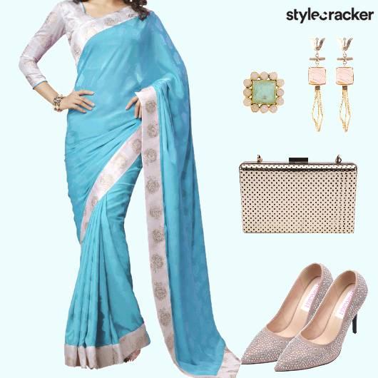 Festive Ethnic Indian Saree Blue - StyleCracker