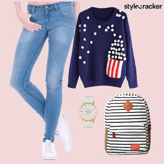 Casual Sweatshirt Backpack Blue - StyleCracker