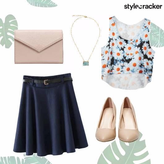 Skater Skirt Floral Crop Top Pumps Casual Blue - StyleCracker