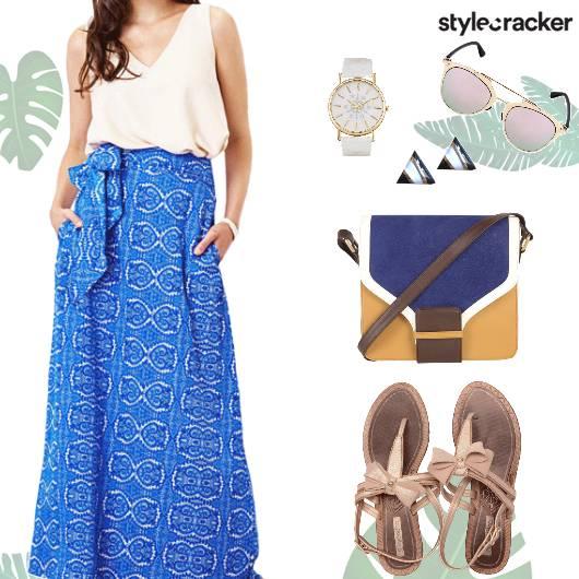 Casual Printed Blue MaxiSkirt  - StyleCracker