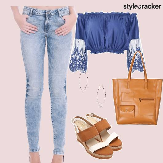 Jeans Offshoulder Top Tote Wedges Blue - StyleCracker