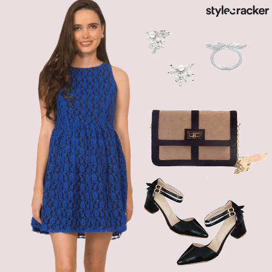 Lace Dress Sling Studs Ring Casual Blue - StyleCracker