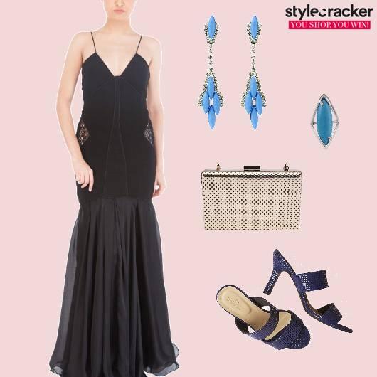 Maxidress Heels Boxclutch Party Blue - StyleCracker