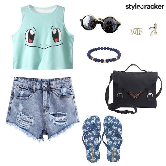 CropTop Shorts Casual Summer Blue - StyleCracker