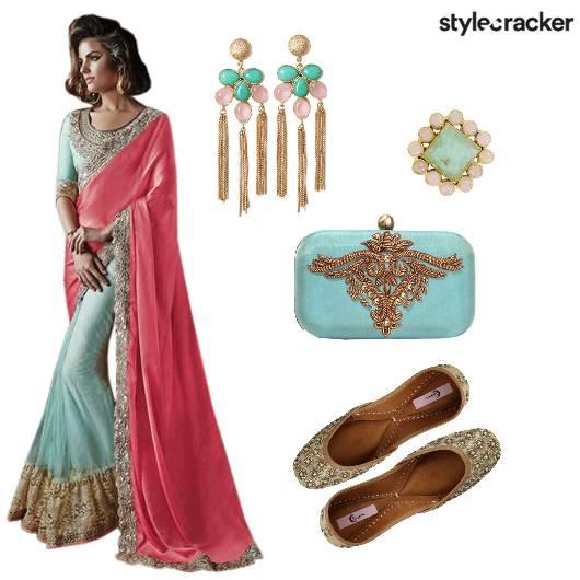 Indian Ethnic Blue Festive Saree - StyleCracker