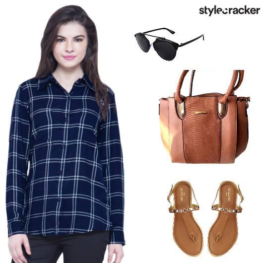 Shirt Flats Handbag Blue - StyleCracker