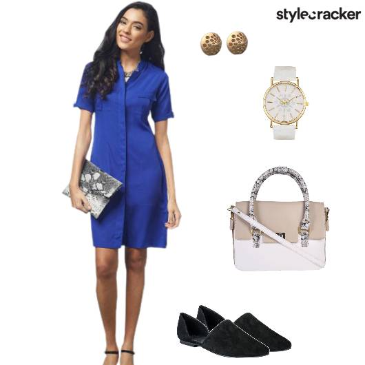 Shirtdress Flats Handbag Watch Blue - StyleCracker