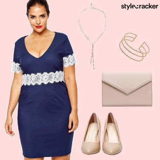 Curvy Blue Lace Party  - StyleCracker