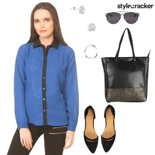 Shirt Pants Formal Work Blue - StyleCracker