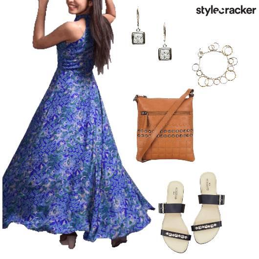 Floral maxi Dress Summer Blue - StyleCracker