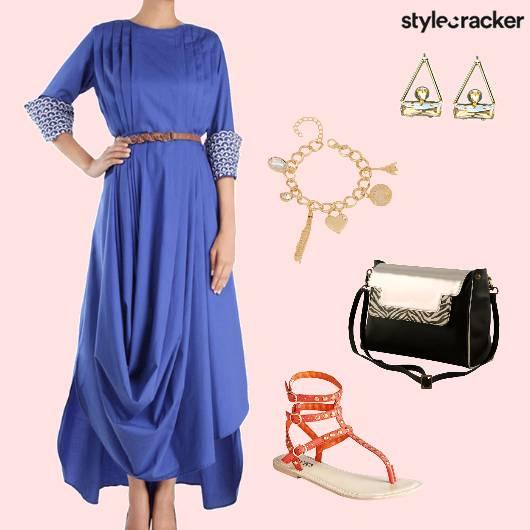 MaxiDress Blue Drapes Summer  - StyleCracker