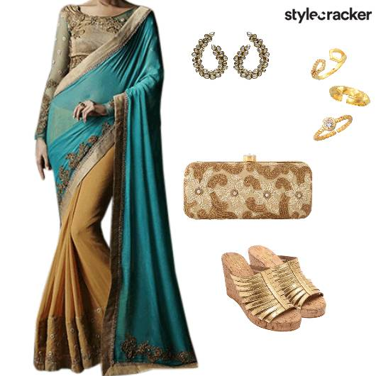 Saree Indian ethnic Festive Blue - StyleCracker