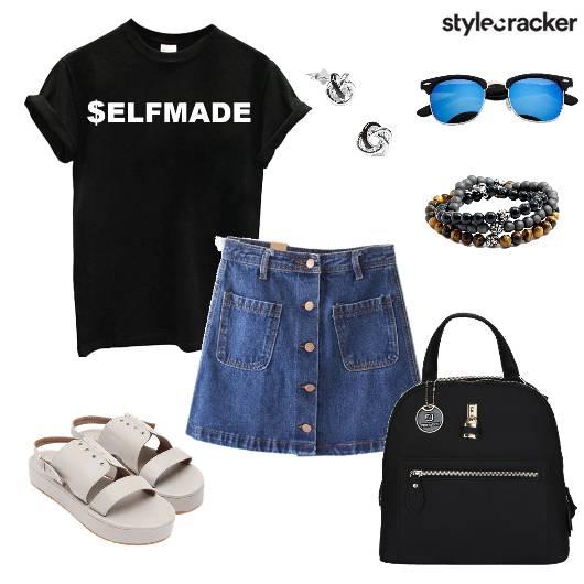 T-Shirt Skirt Casual Basic Blue - StyleCracker