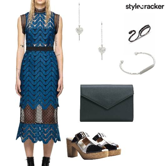 Lace Dress Night Party Blue - StyleCracker