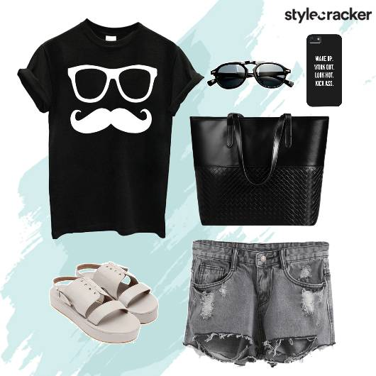 Casuals  PrintedTshirt RippedShorts Sunglasses - StyleCracker
