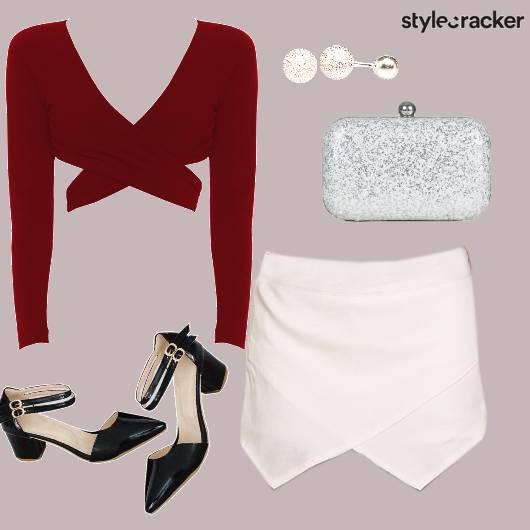VNeck Croptop Skirt Night Party - StyleCracker