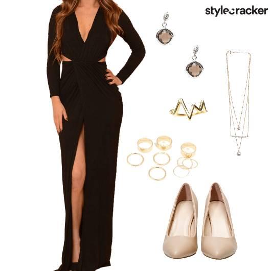 VNeck Slit Gown Night Party  - StyleCracker