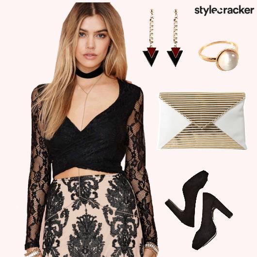 Lace Croptop Skirt Night Party - StyleCracker