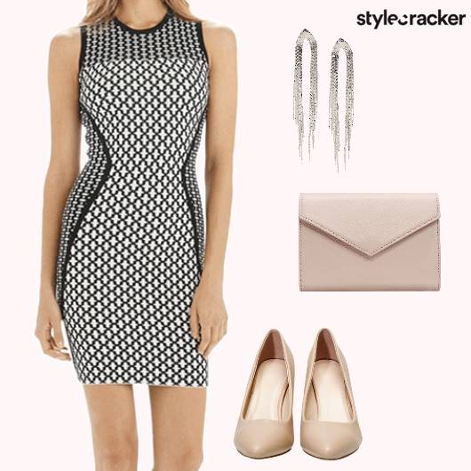 BodyconDress Prints NudePumps Dinner  - StyleCracker