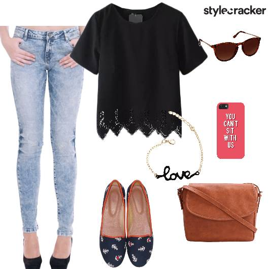 Tshirt Jeans Slipons Crossbodybag Casual - StyleCracker
