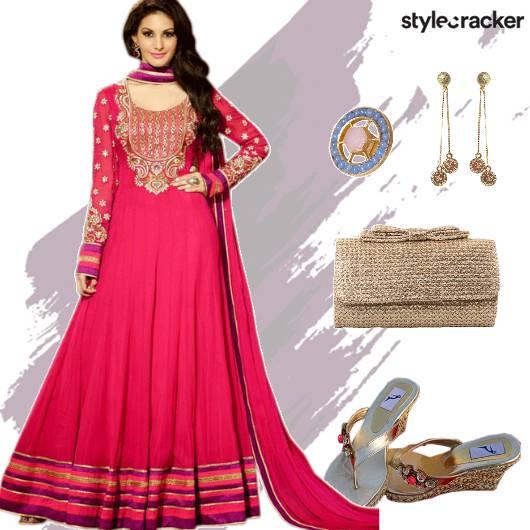 Festive Ethnic Indian Anarkali Wedding - StyleCracker