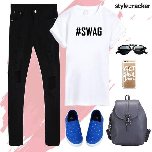 PrintedTshirt RippedDenim SlipOns Backpack - StyleCracker
