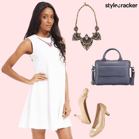 Dress White NudeHeels StatementNecklace  - StyleCracker