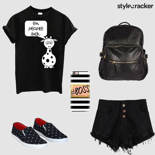 Casual  AllBlack GraphicTee Shorts  - StyleCracker