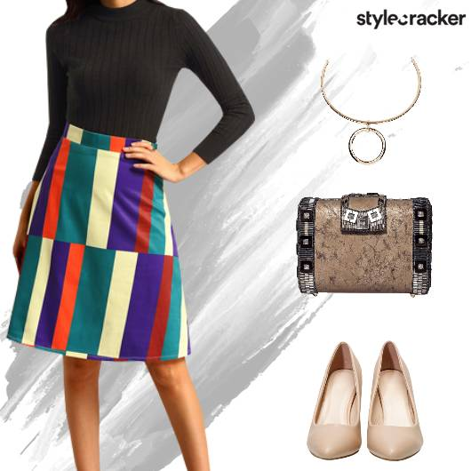 Party Weekend Dinner ColourBlock Skirt - StyleCracker