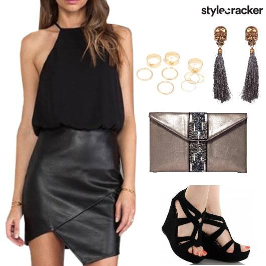 HalterNeck Leather Dress Night Party Weekend - StyleCracker