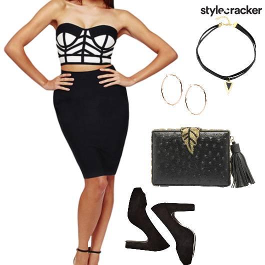 Croptop Skirt TwinSet Night Party - StyleCracker