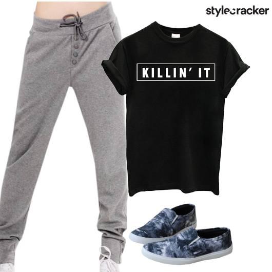 Joggers T-Shirt Shoes Workout  - StyleCracker