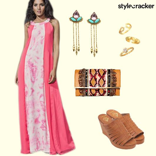 TieDye MaxiDress Wedges EmbroideredClutch - StyleCracker