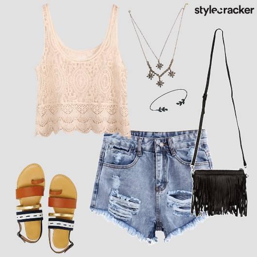 Lace RippedShorts StrappyFlats Shopping  - StyleCracker