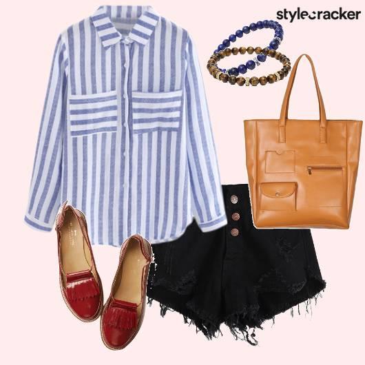 StripedShirt RippedShorts ToteBag BeadedBracelets  - StyleCracker