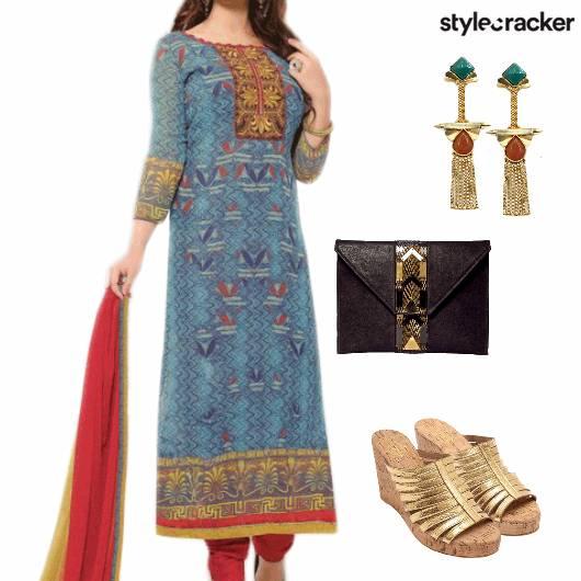 ChuridarKurta Wedges Indian Festive  - StyleCracker