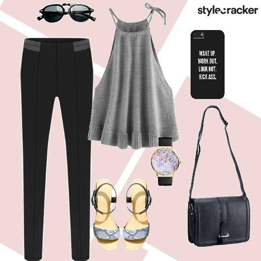 Top Highwaist Pants Slingbag Work Coffee - StyleCracker