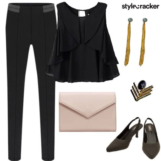 Frill Top Pants Formal Lunch Party - StyleCracker