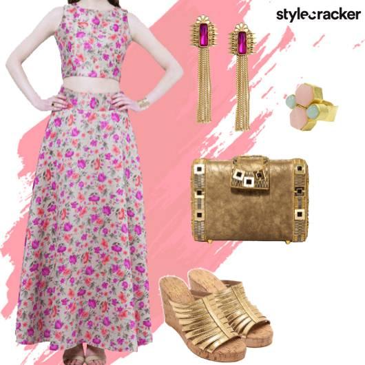 Floral Croptop Skirt Indian Ethnic - StyleCracker