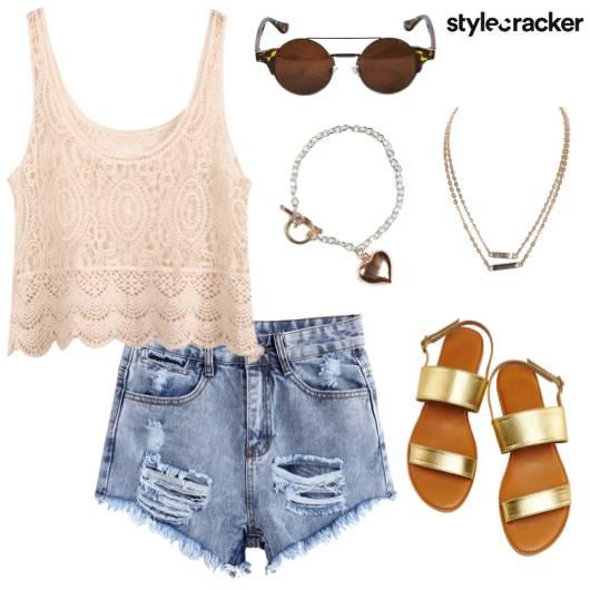 Lace Top Ripped Shorts Summer Beach - StyleCracker